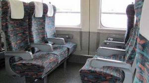 Shinkansen seats facing each other