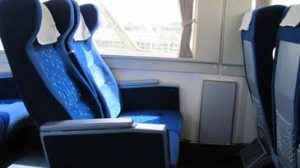 Recling seats on a train